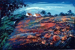 Crimson Poppies II by Lynn Rodgie -  sized 30x20 inches. Available from Whitewall Galleries